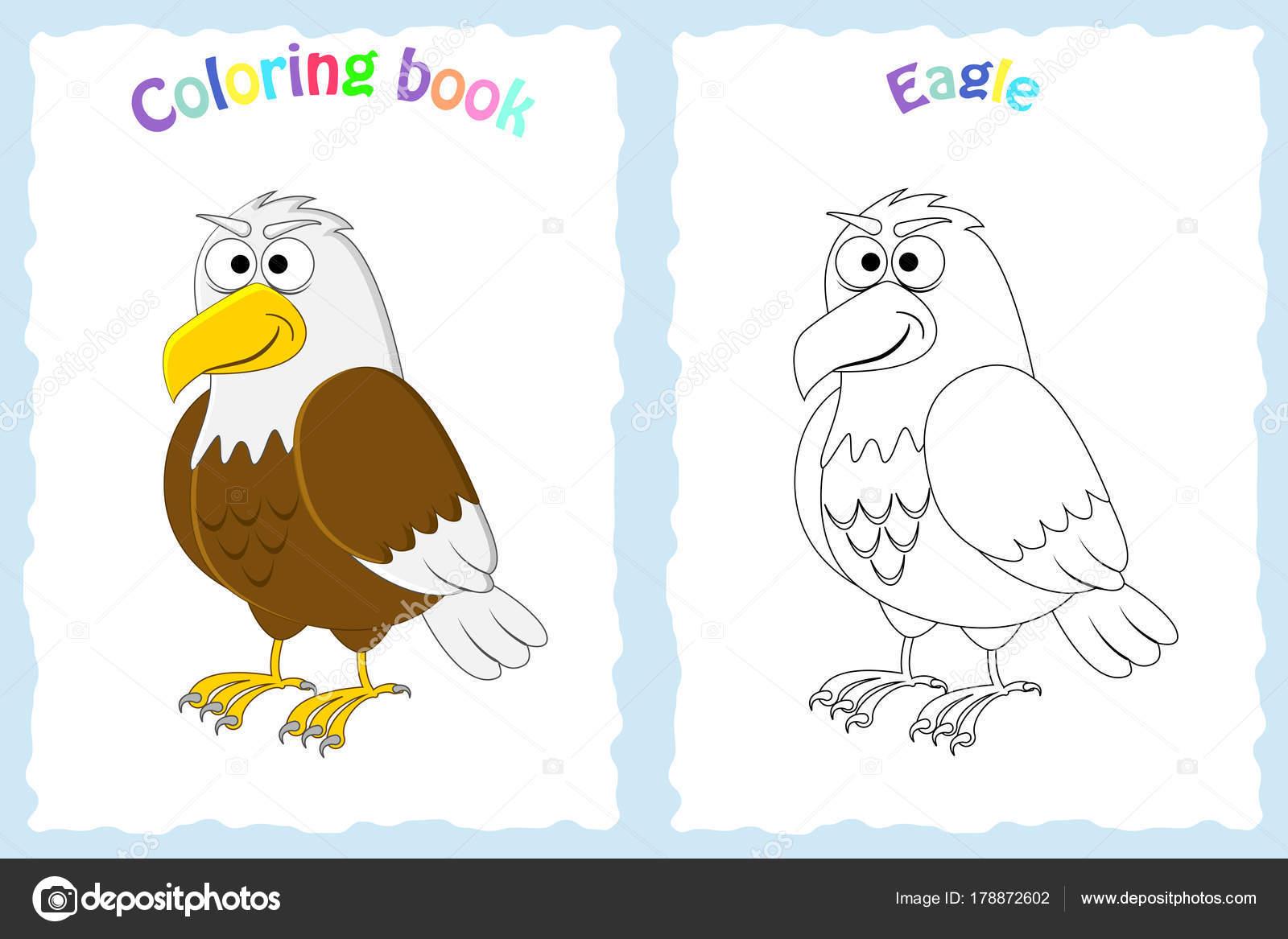 Libro Pagina Da Colorare Per Bambini In Età Prescolare Con Aquila