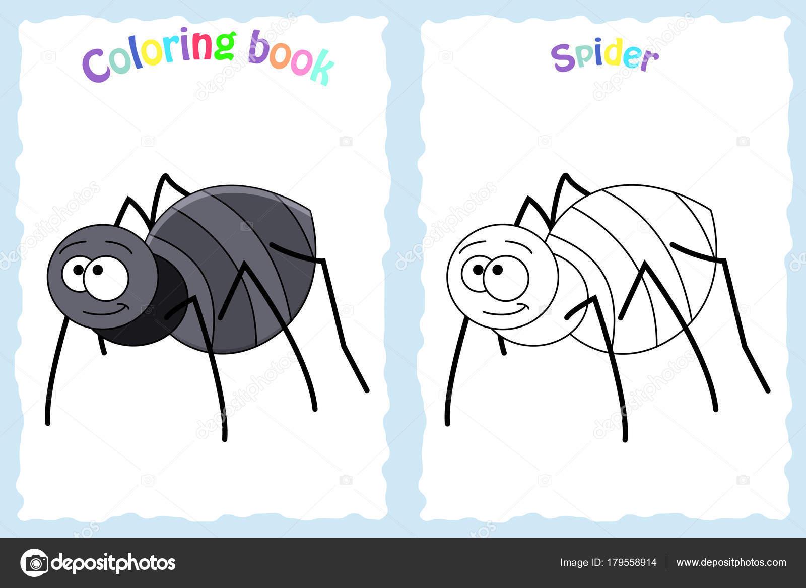 Buch-Malvorlagen für Kinder im Vorschulalter mit bunten Spinne ...