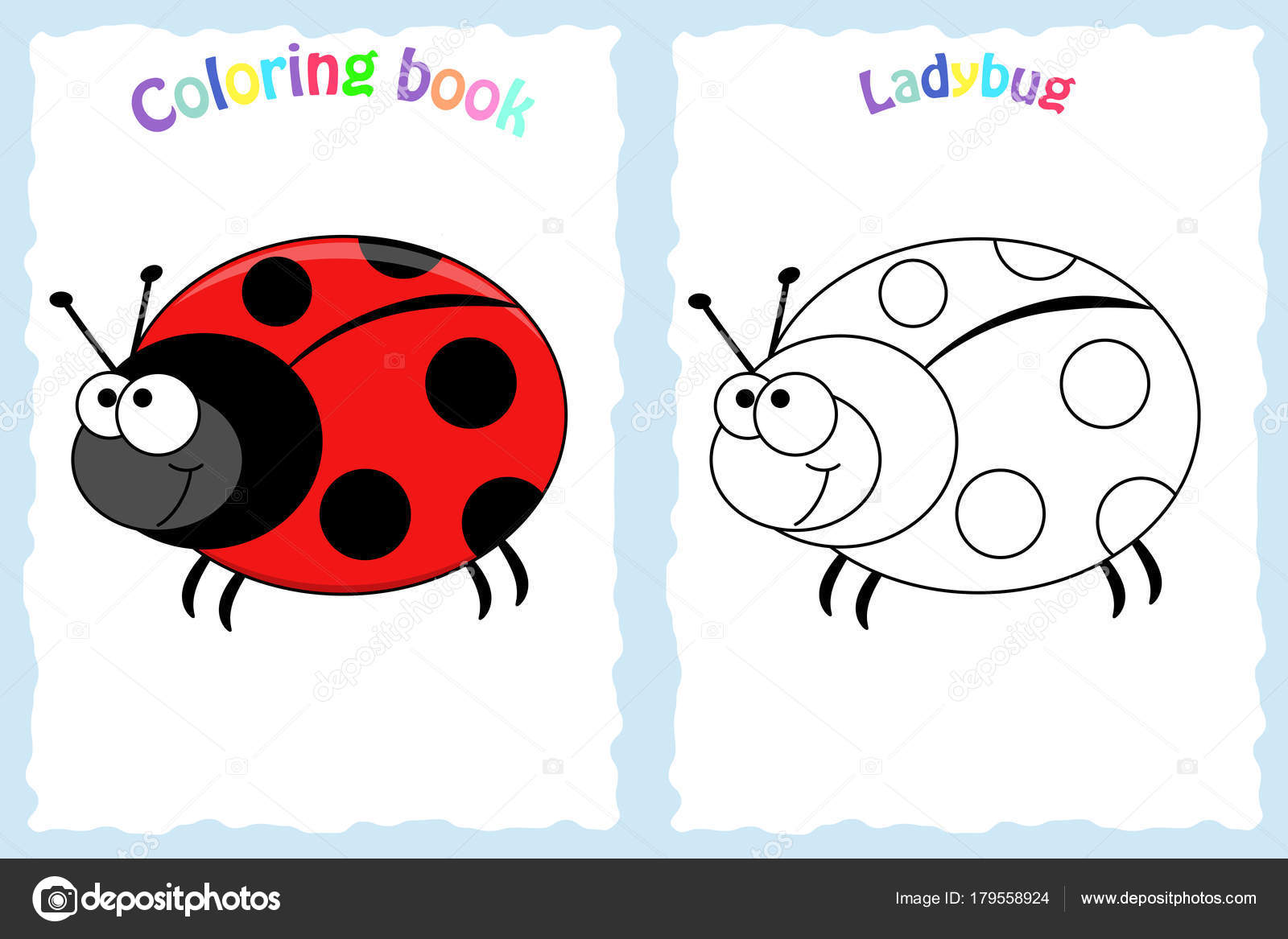 Coloring Book Page For Preschool Children With Ladybug Stock