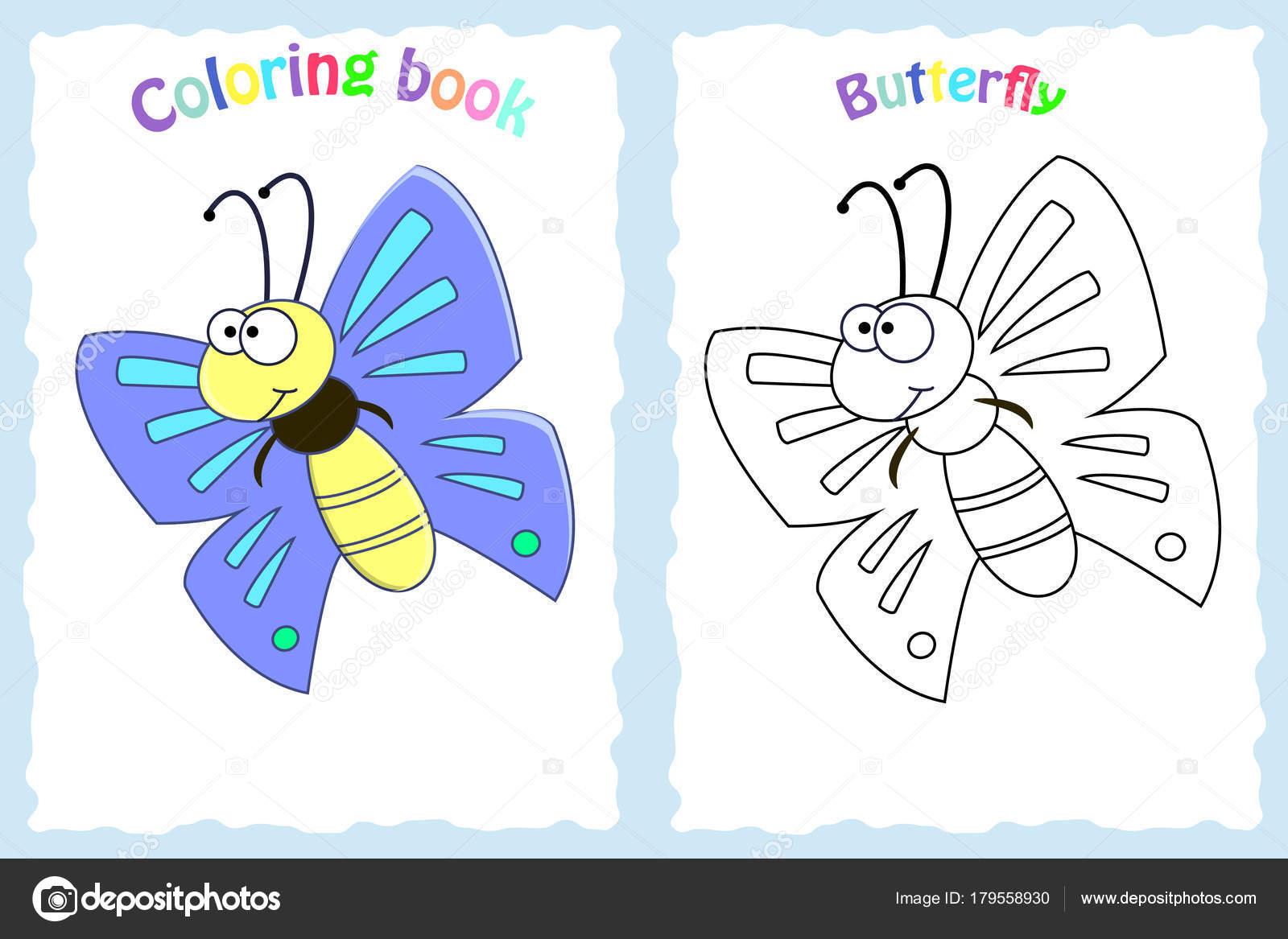 Renkli Kelebek Olan Okul öncesi çocuklar Için Kitap Sayfa Boyama