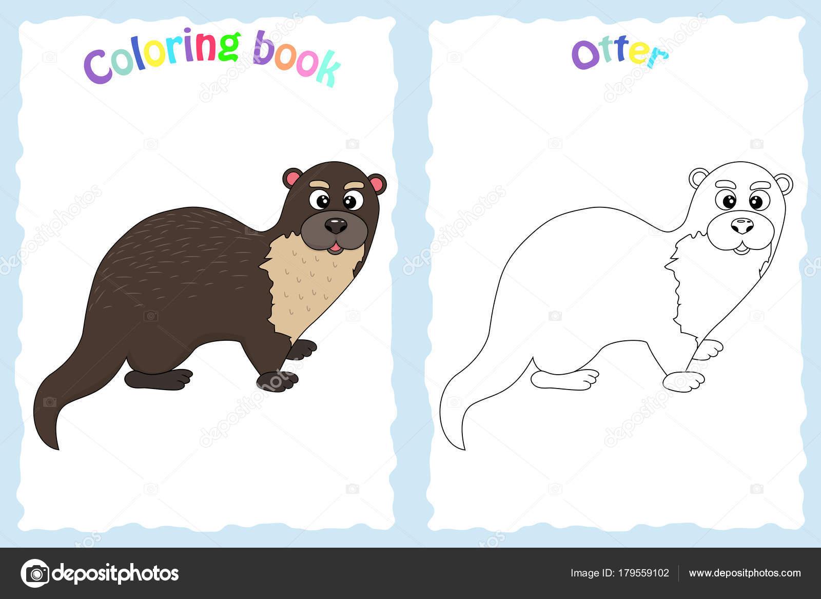 Libro de colorear para niños preescolar con nutria colorido ...