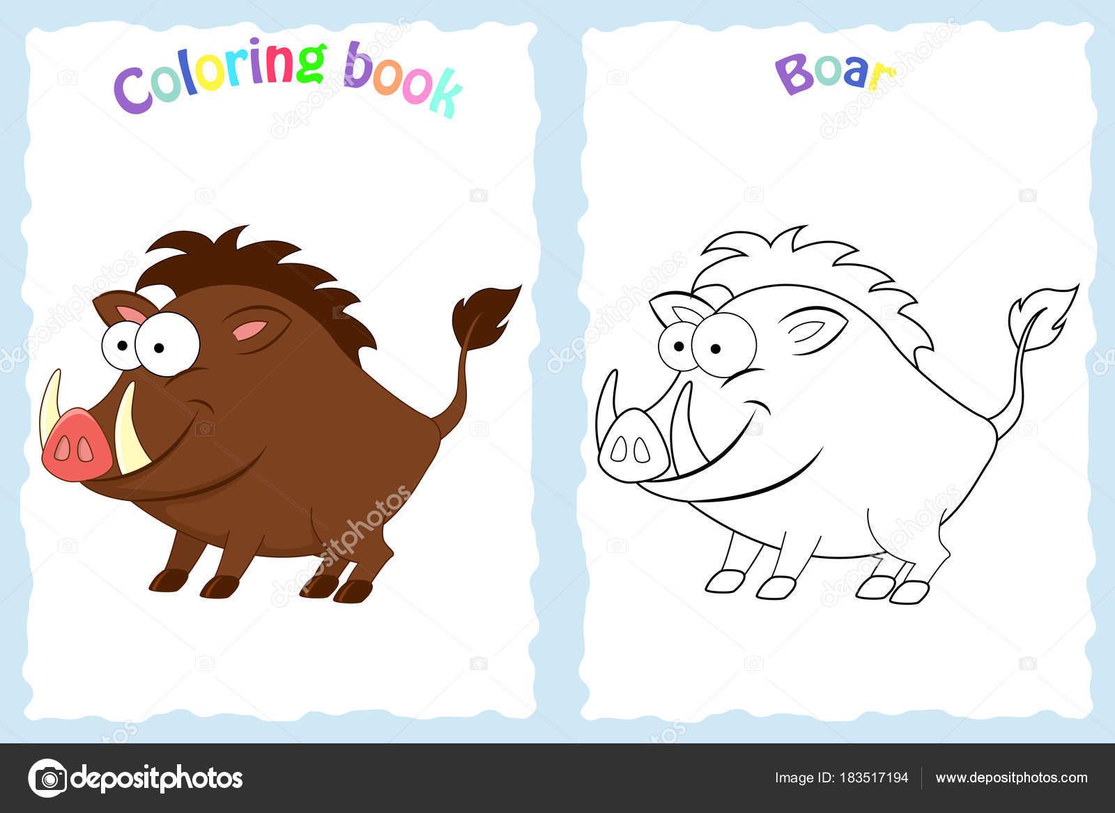 Buch-Malvorlagen für Kinder im Vorschulalter mit bunten Eber ...