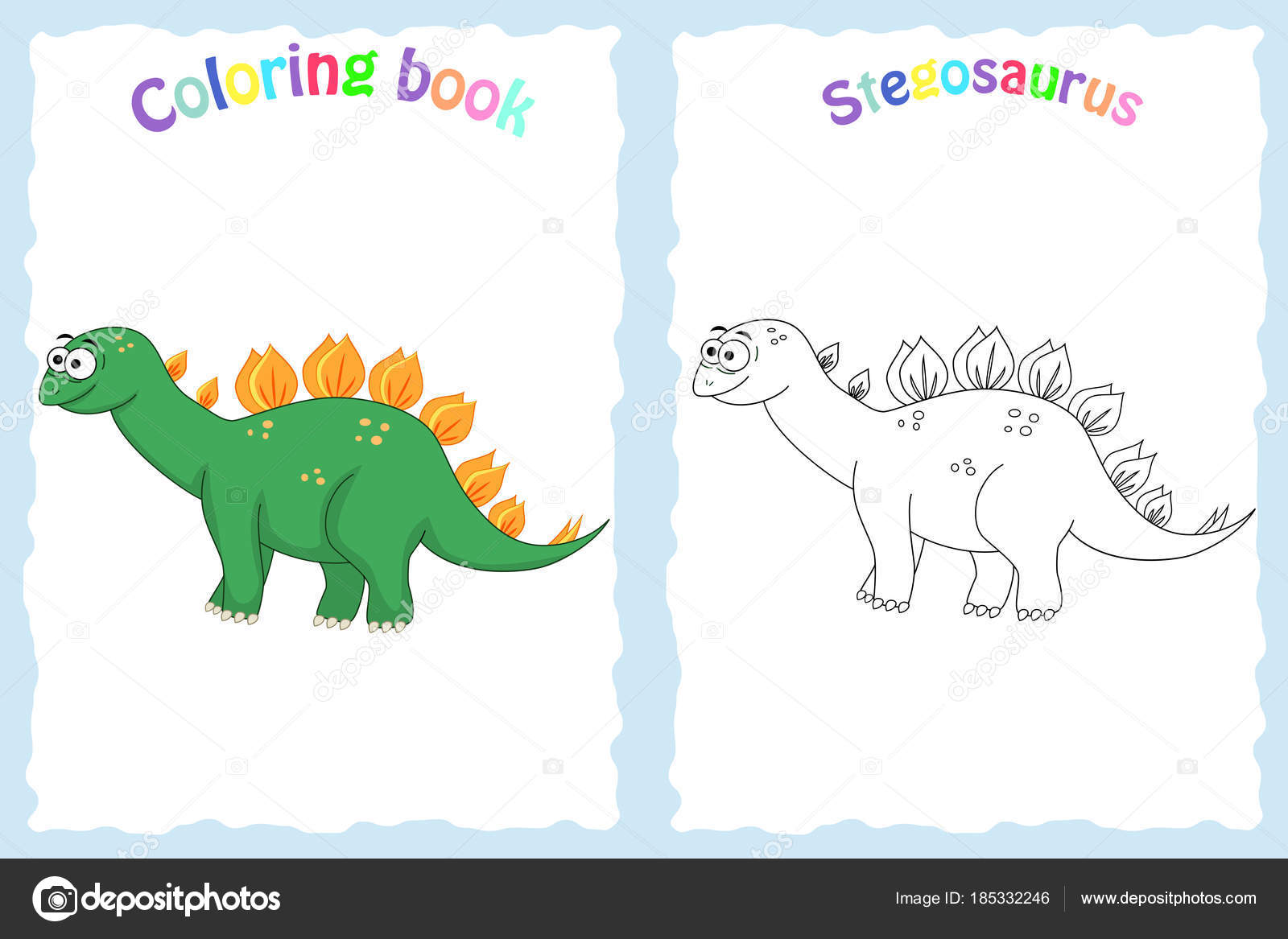 Buch-Malvorlagen für Kinder im Vorschulalter mit bunten stegosau ...