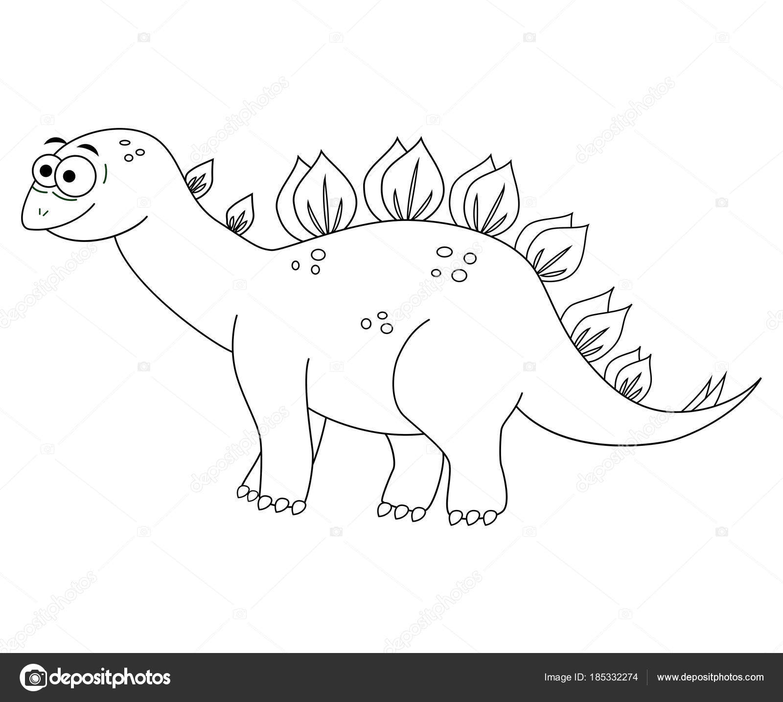 Colorles lustige Cartoon Stegosaurus. Vektor-Illustration. Colorin ...