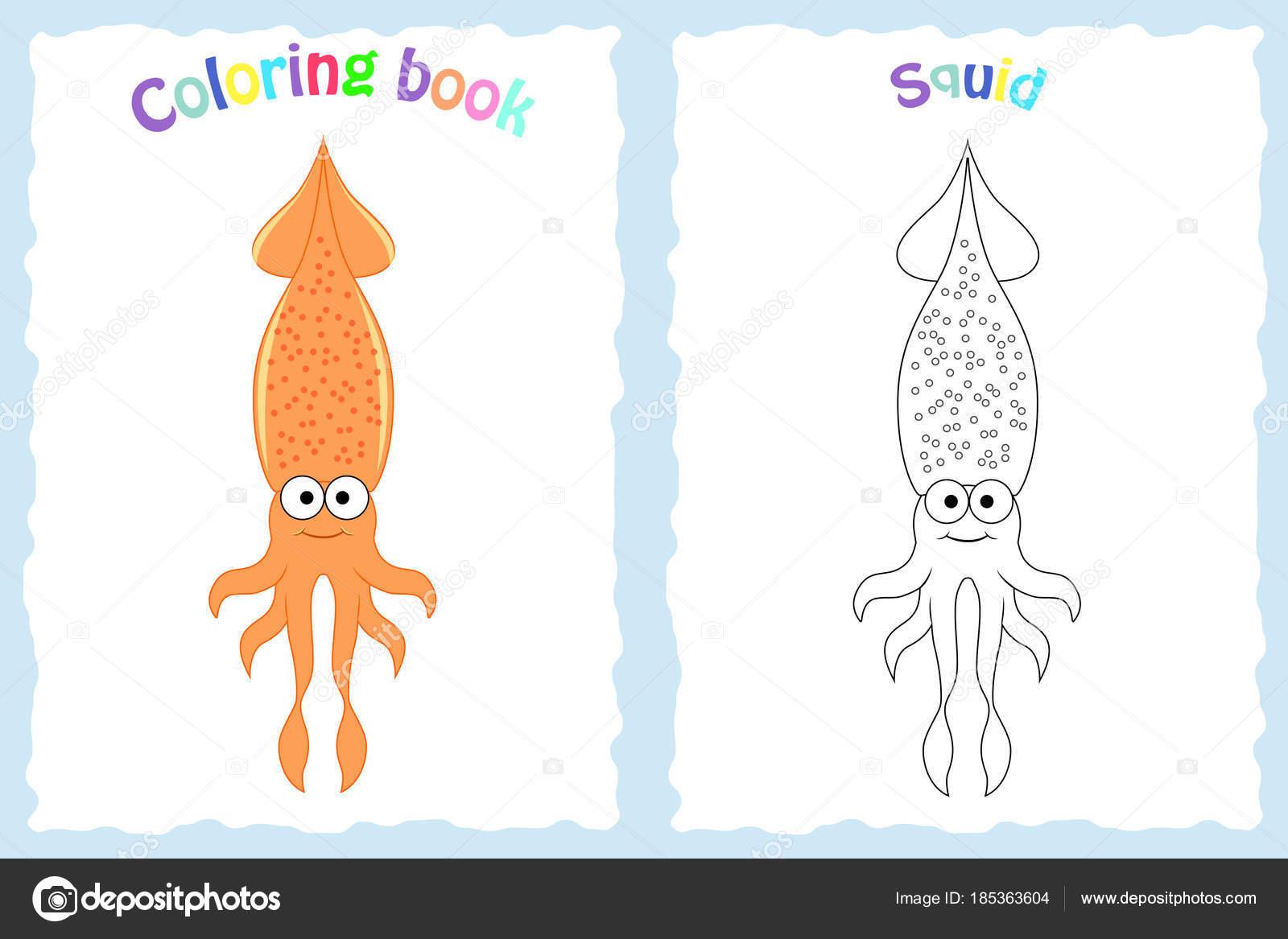Buch-Malvorlagen für Kinder im Vorschulalter mit bunten Tintenfisch ...