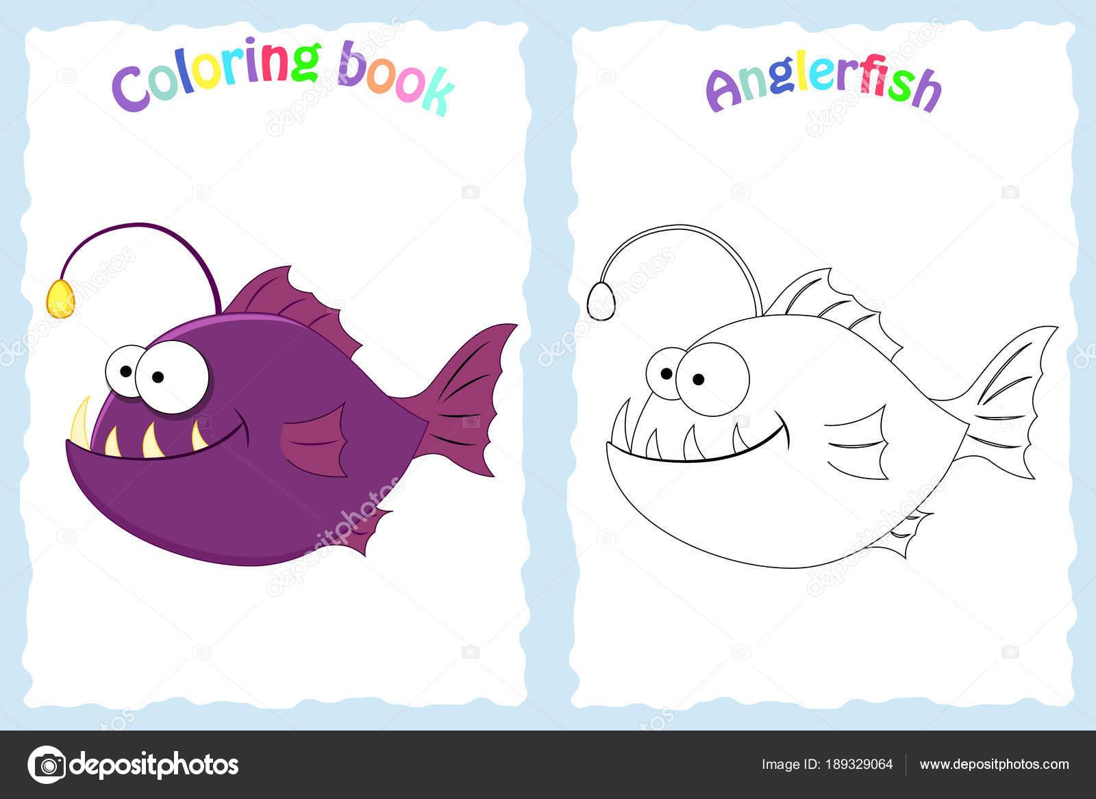 Buch-Malvorlagen für Kinder im Vorschulalter mit bunten anglerfi ...