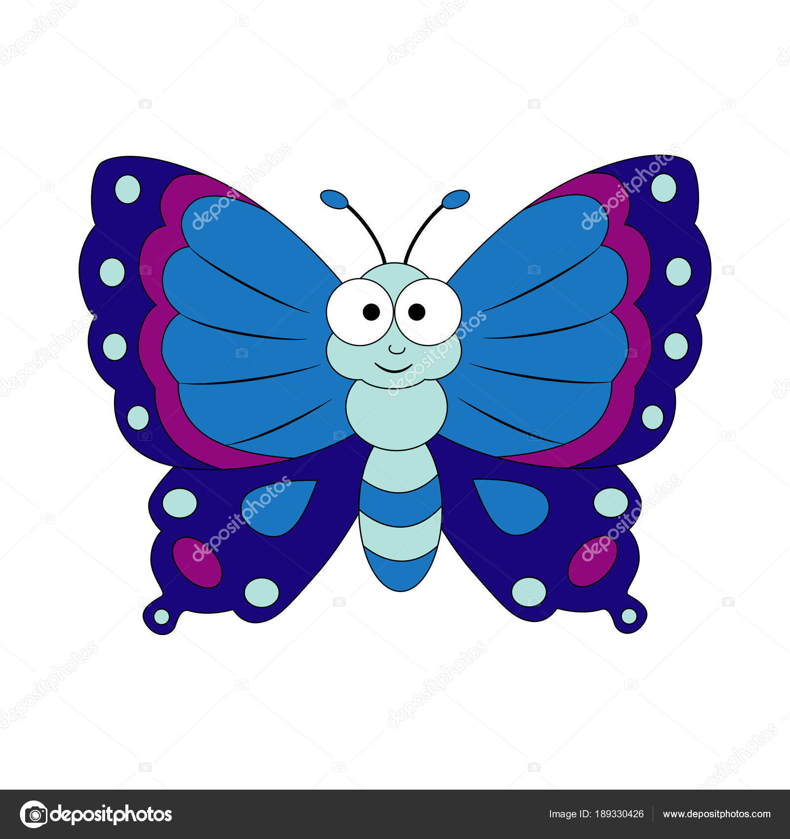cute cartoon butterfly vector illustration isolated on