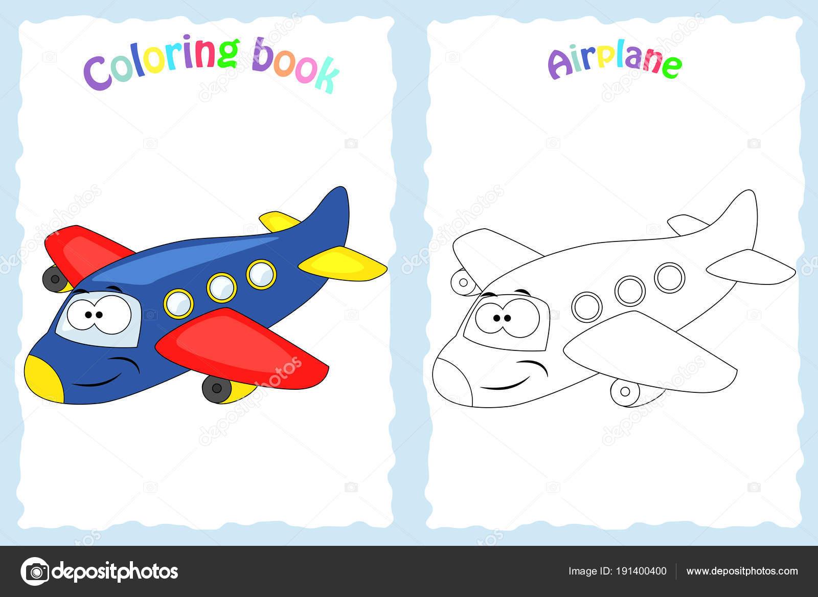 Página de libro para colorear para niños con colorido avión y ske ...