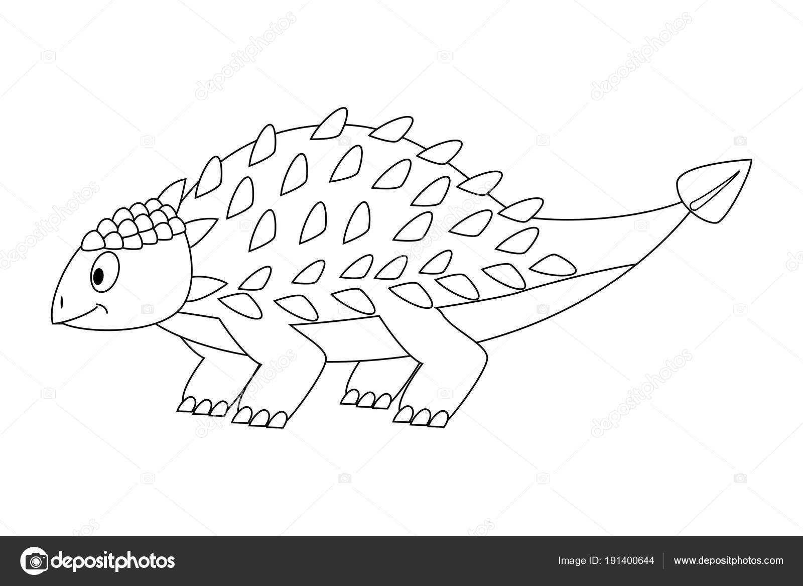Anquilosaurio dibujos animados divertidos descolorido. Dinosaurio de ...