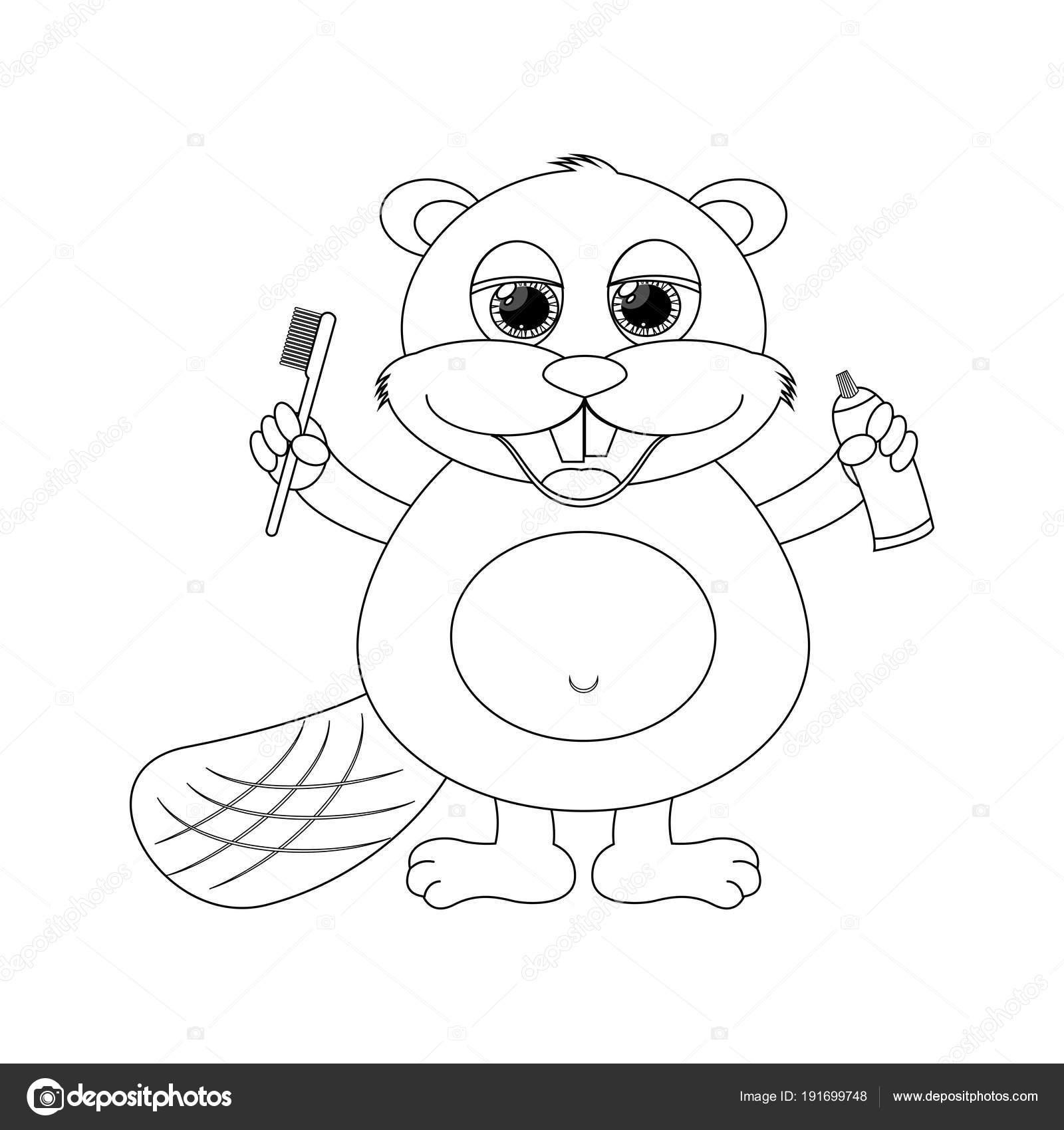 Colorles Castoro Divertente Del Fumetto Illustrazione Di Vettore