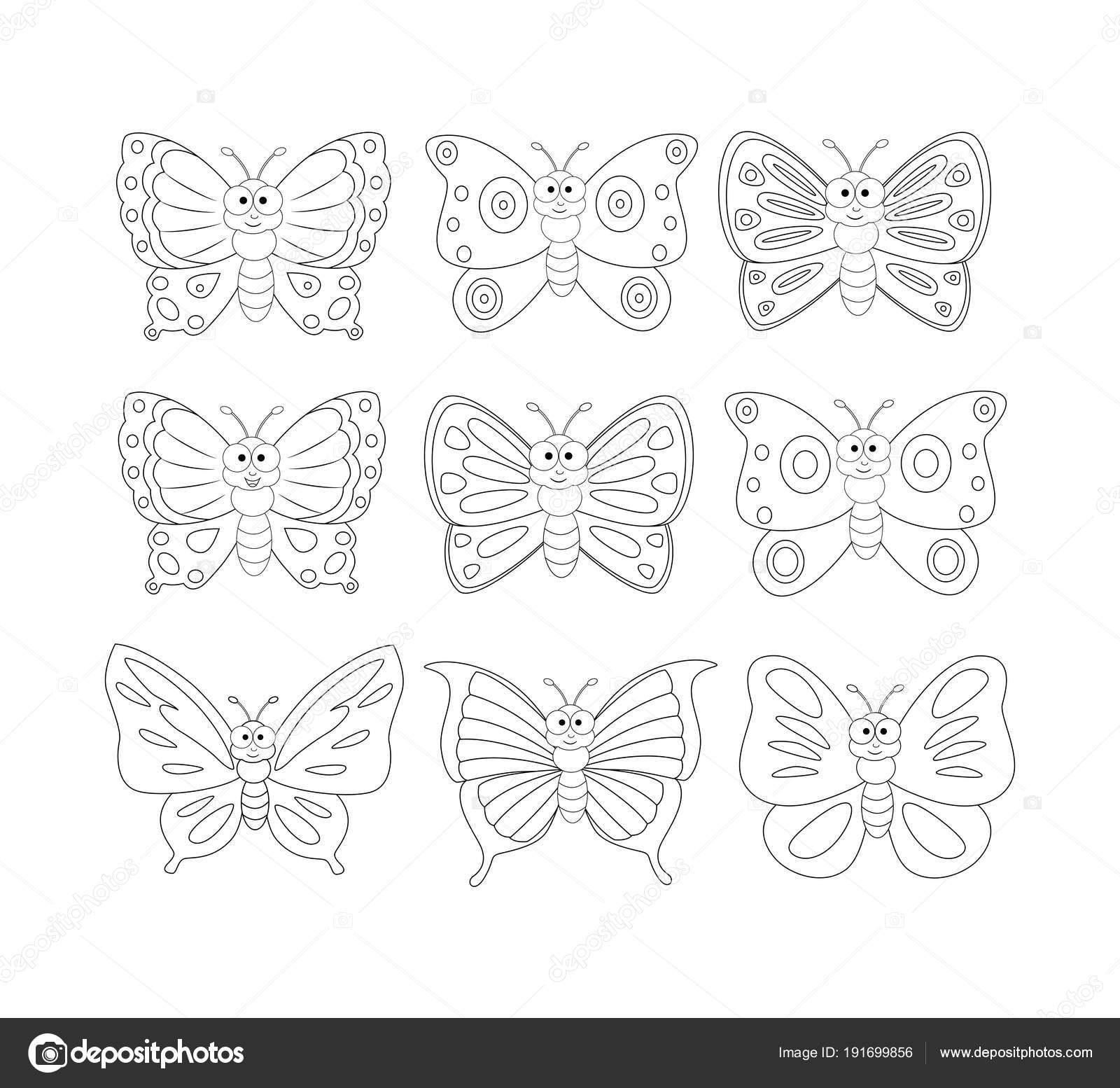 Imágenes Contornos De Mariposas Para Imprimir Página De