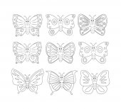 Photo Coloring book page with 9cartoon butterfly. Vector illustration