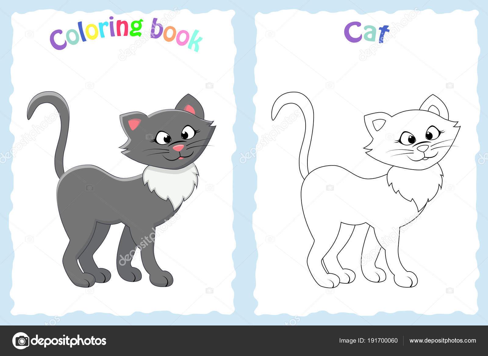 Kitap Sayfa Renkli Kedi Olan Okul öncesi çocuklar Için Boyama Ve