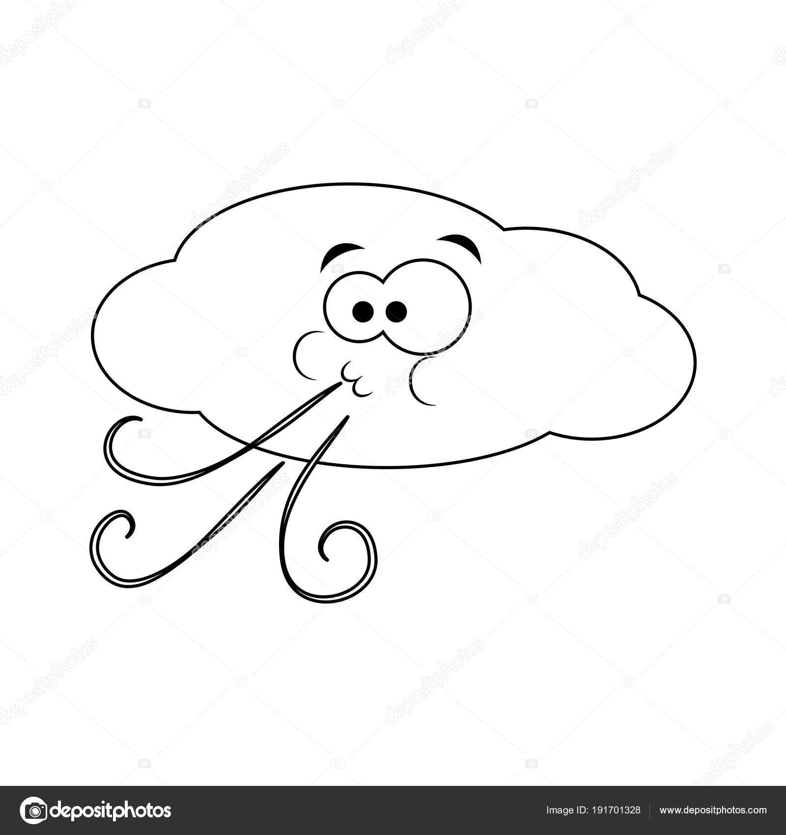 nuvem de desenho animado incolor sopra o vento ilustração em vetor
