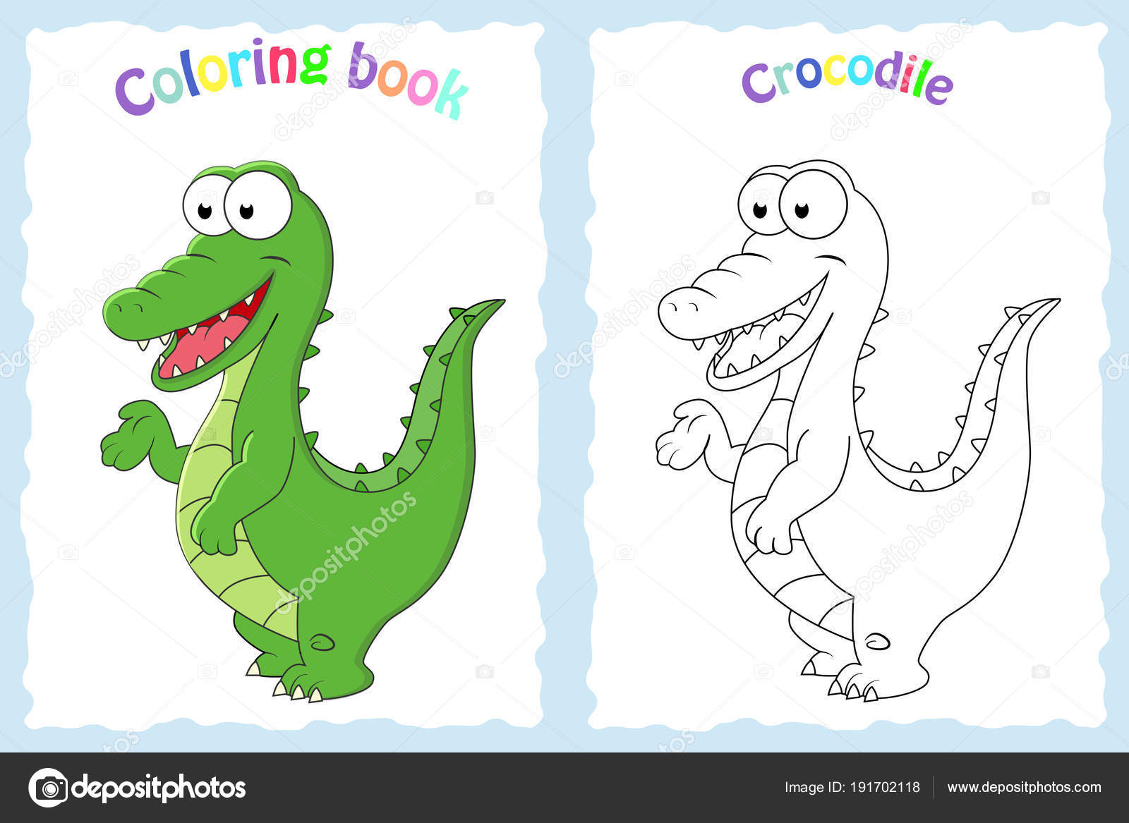 Coloring book page for preschool children with colorful crocodil ...