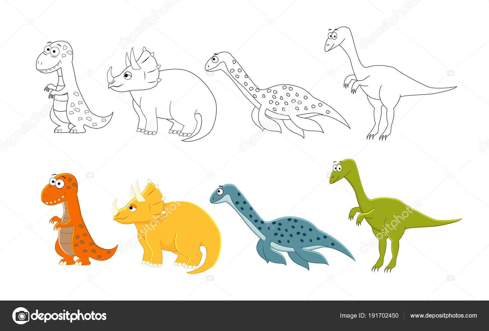 Juego de dinosaurios de dibujos animados. Libro dibujos para ...