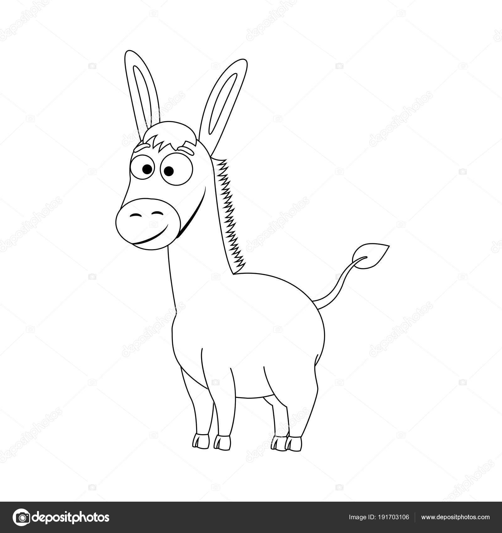 Renksiz Komik Karikatür Eşek Stok Vektör Budolga 191703106
