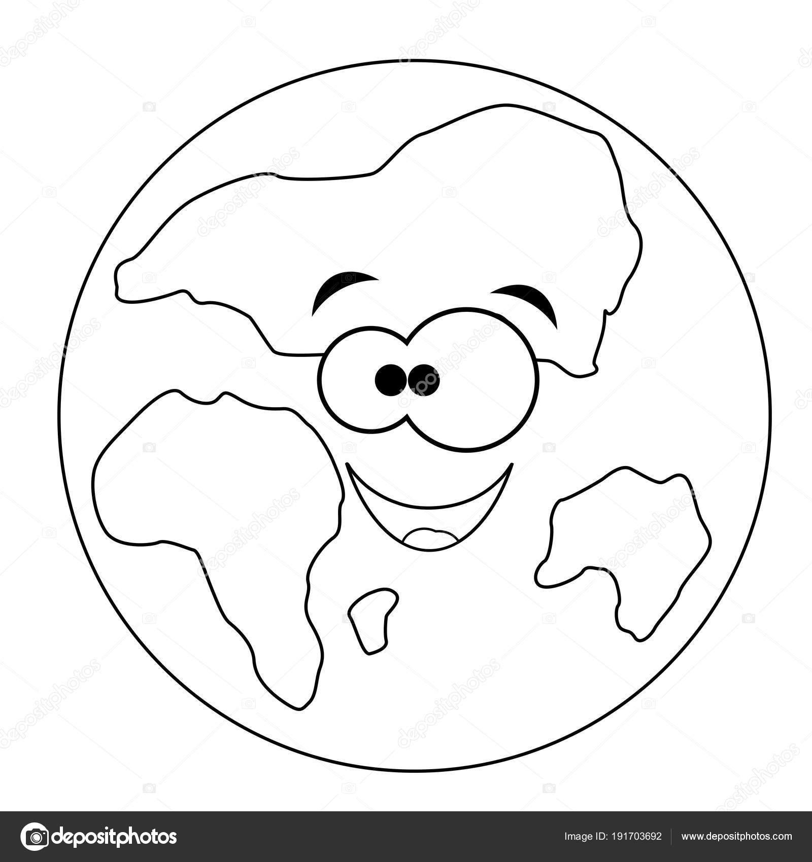 Renksiz Komik Karikatür Dünya Vektör çizim Pag Boyama