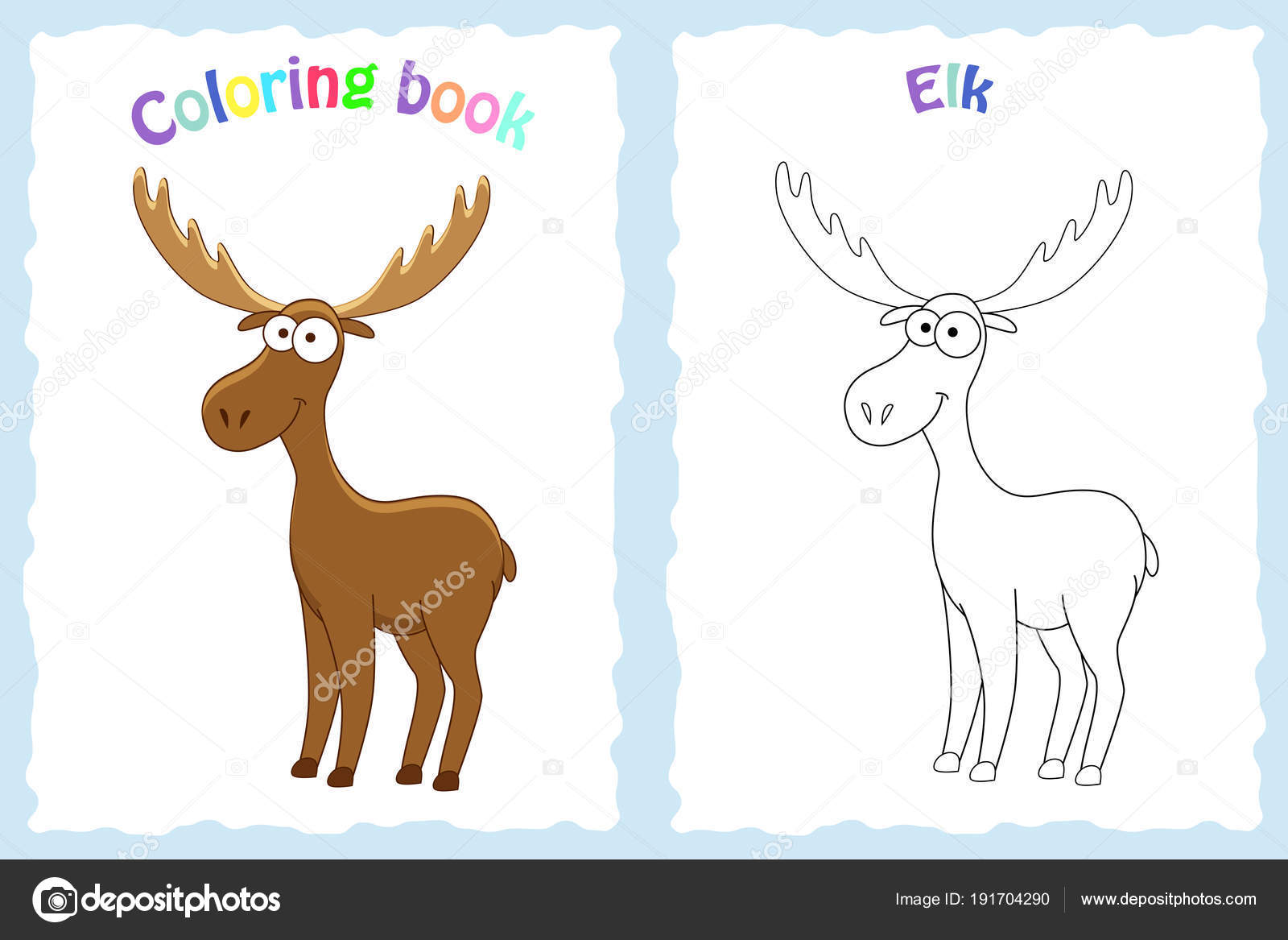 Buch-Malvorlagen für Kinder im Vorschulalter mit bunten Elch und ...