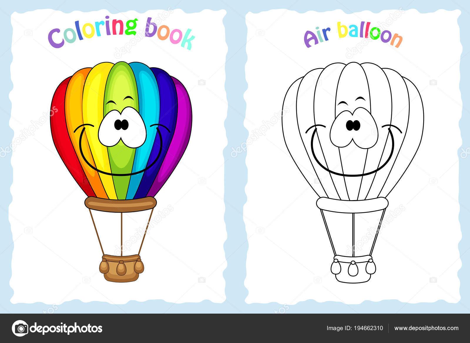 Kitap Sayfa Renkli Hava Balonu Olan çocuklar Için Boyama Ve Stok