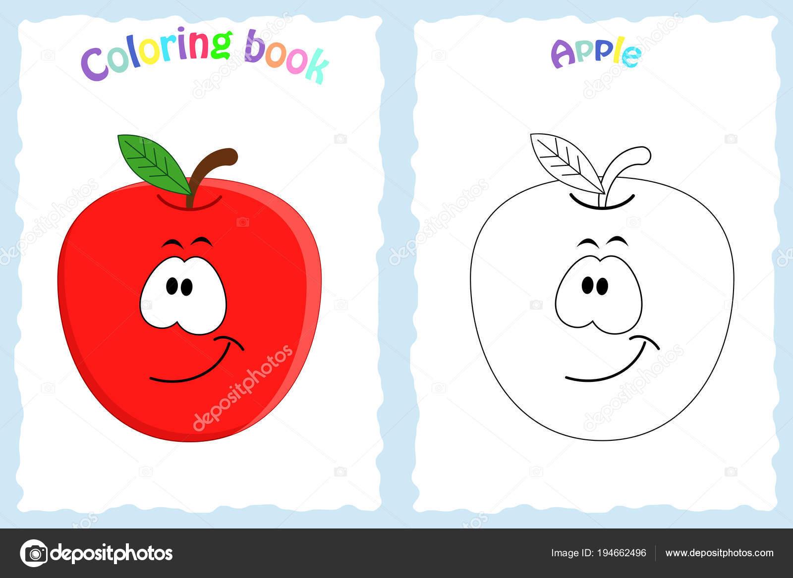 Pagina Del Libro Da Colorare Per I Bambini Con Colorati Mela E Lo