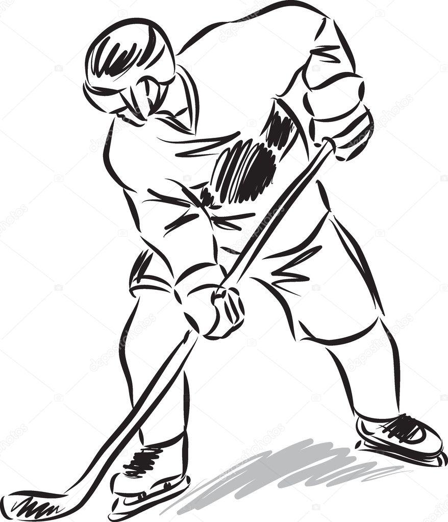 hockey hombre jugador ilustración blanco y negro — Vector de stock ...