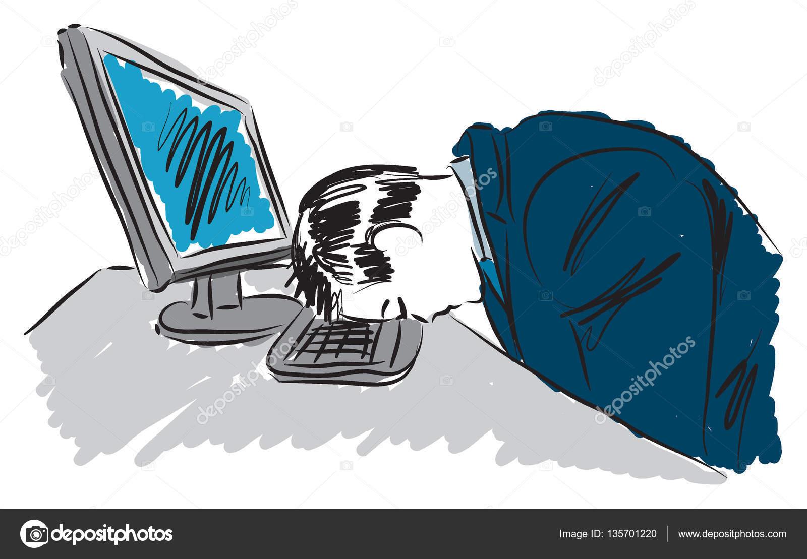 仕事イラストで眠そうな男 ストックベクター Moniqcca 135701220