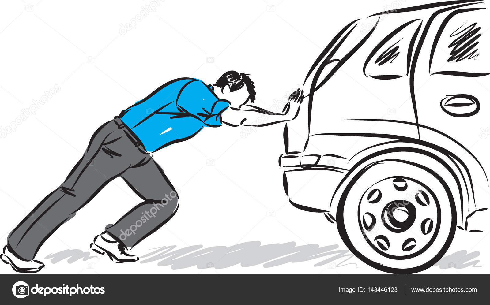 man pushing car vector illustration stock vector moniqcca 143446123
