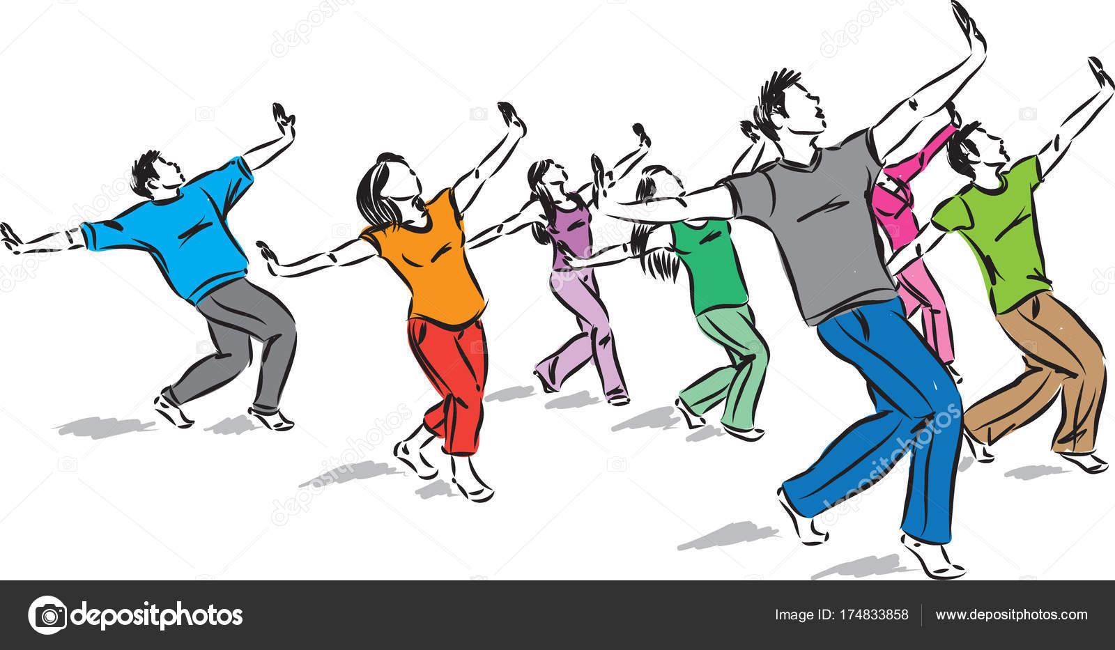 Grupo Bailarines Juntos Vector Ilustración — Vector de stock ...