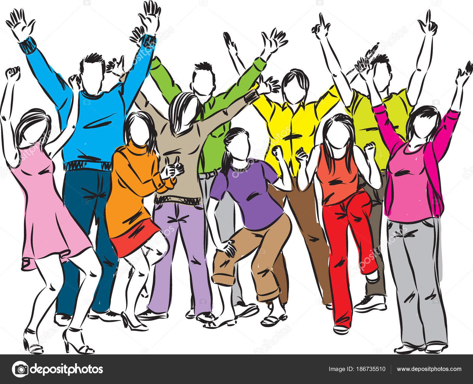 Feliz Personas Exitosas En Caricaturas: Feliz Grupo Ilustración Vector Celebración Gente