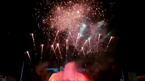 Barcelona, Spain - 25 September 2016: La Merce 2016 fireworks at Magic Fountain.