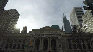NEW YORK, USA - APRIL 14 2017: The New York Public Library Main Branch facade.