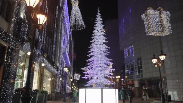 Budapest, Magyarország - 2019. december 08.: Karácsonyi vásár és megvilágított fa a Fashion Streeten. Adventi Ünnepi díszek a sétálóutcában, tekintélyes üzletekkel a Deák Ferenc utcáig