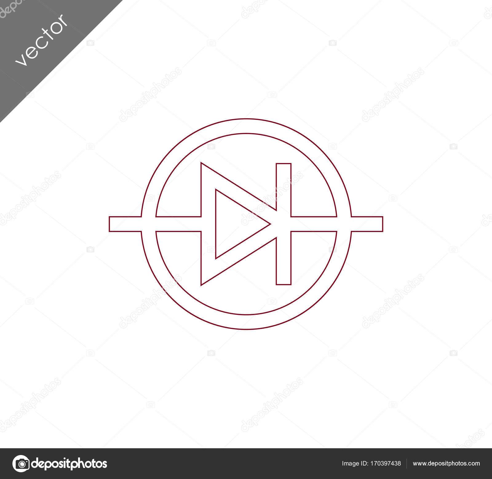 Diode elektrische Symbol Symbol — Stockvektor © signsandsymbols ...