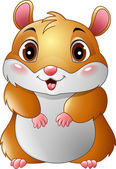 Photo Cartoon smiling hamster