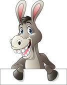 Photo Cartoon funny donkey holding blank sign