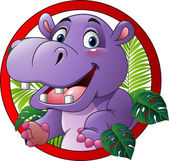 Photo Cartoon funny hippo mascot