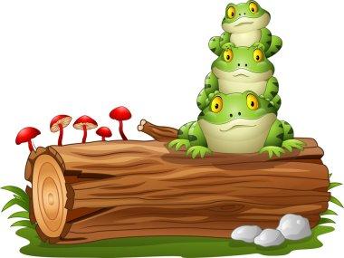Cartoon frog stacked on tree log