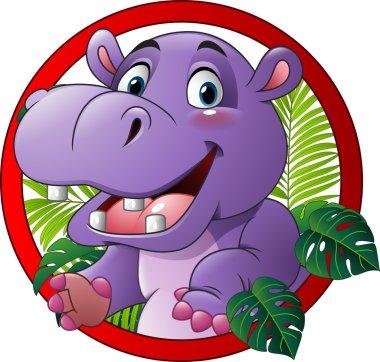 Cartoon funny hippo mascot
