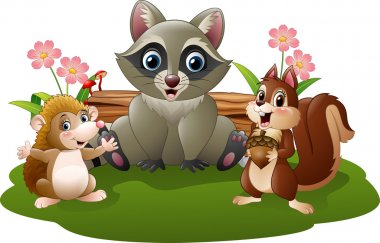 Cartoon funny hedgehog, raccoon and squirrel