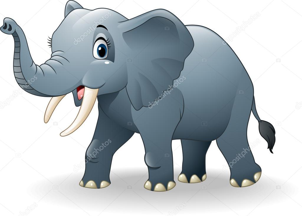 Cartone animato elefante felice — vettoriali stock