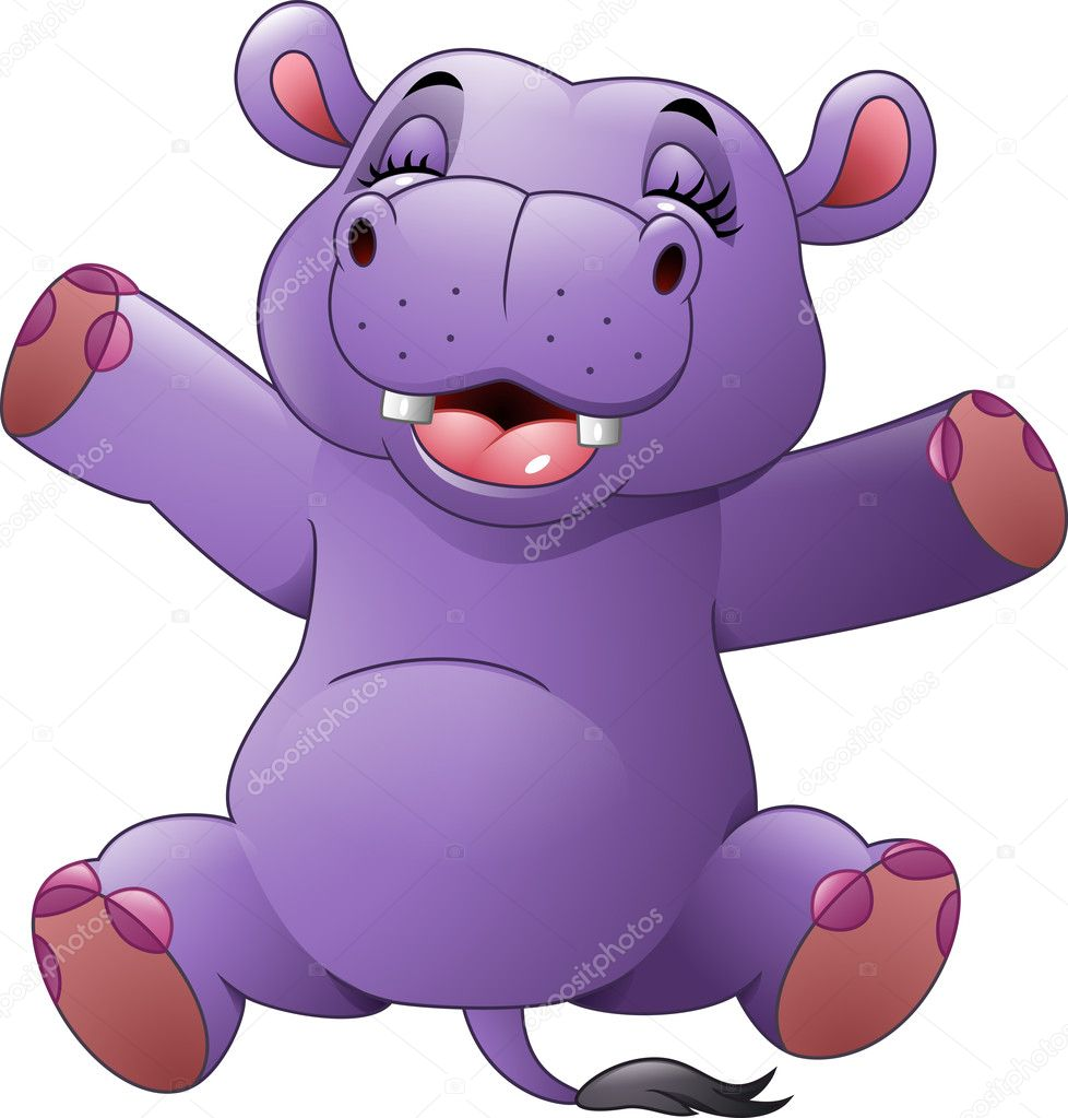 Cartoon funny hippo — Stockvektor © dreamcreation01 #126348534