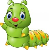 Photo Cartoon green caterpillar