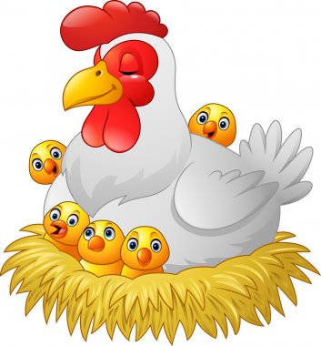 Cute cartoon hen with chickens sitting in a nest