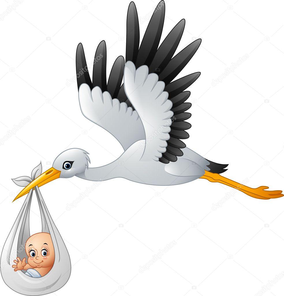 Bébé Comptable De Cigogne Dessin Animé Image Vectorielle