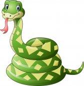 Fotografia cartone animato carino serpente verde