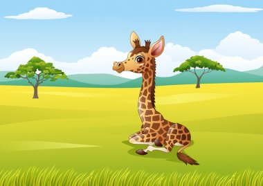 Cartoon giraffe sitting in the jungle