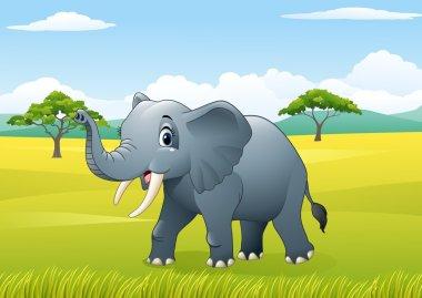 Cartoon funny elephant in the jungle