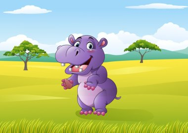 Cartoon funny hippo in the jungle