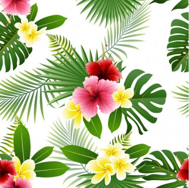 Seamless pattern of tropical flowers and tropical leaves